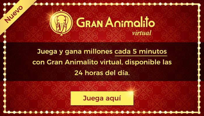 Juega las 24 horas con Gran Animalito Virtual. Menos animales mas oportunidades de ganar!!